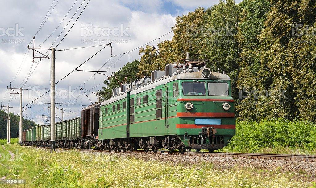 Freight electric train in Kyiv region, Ukraine royalty-free stock photo