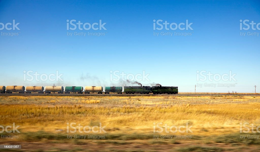 Freight fuel train in motion royalty-free stock photo