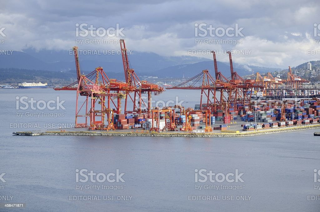 Freight harbor in Port of Vancouver stock photo