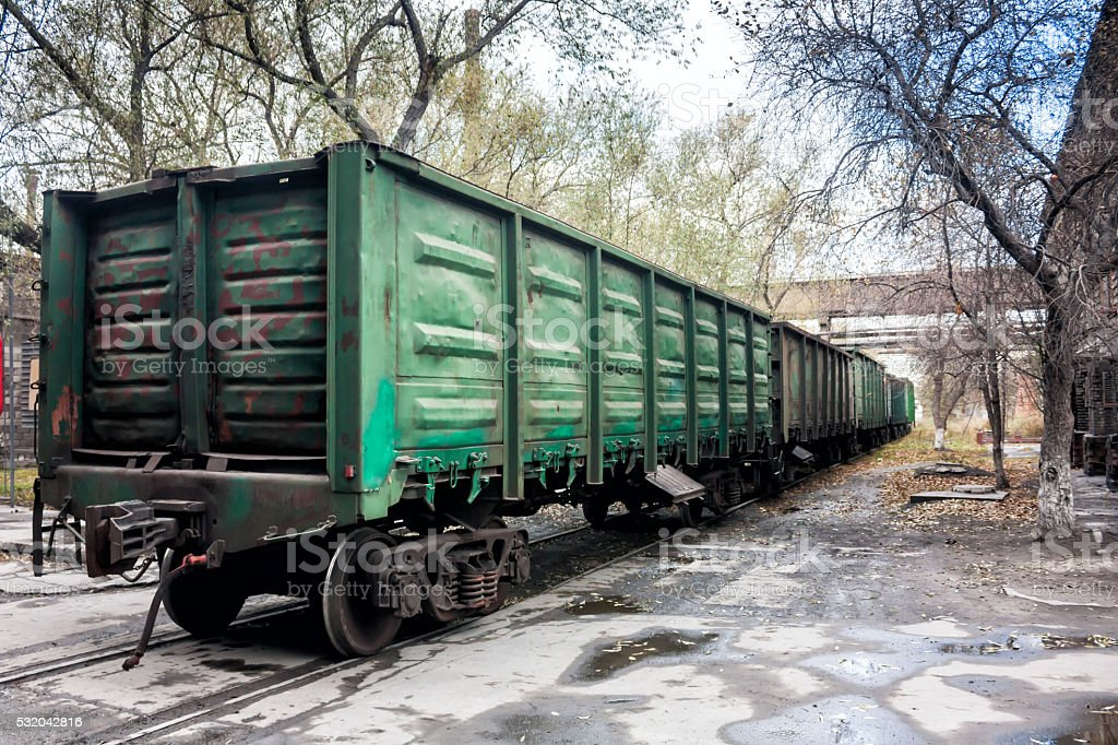 Freight railway carriages in the industrial area royalty-free stock photo
