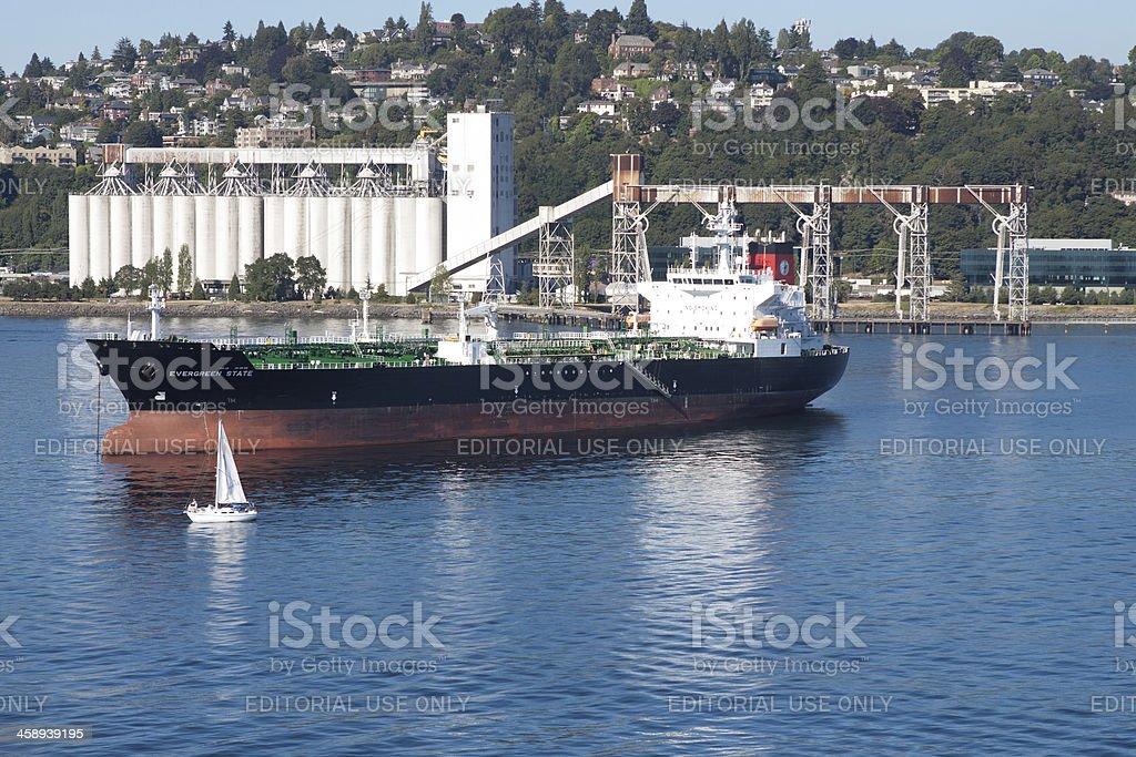 Freight Ship At Anchor royalty-free stock photo