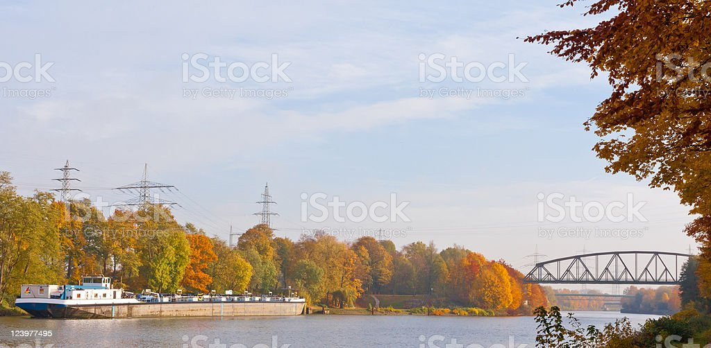 Freight Ship on Canal royalty-free stock photo