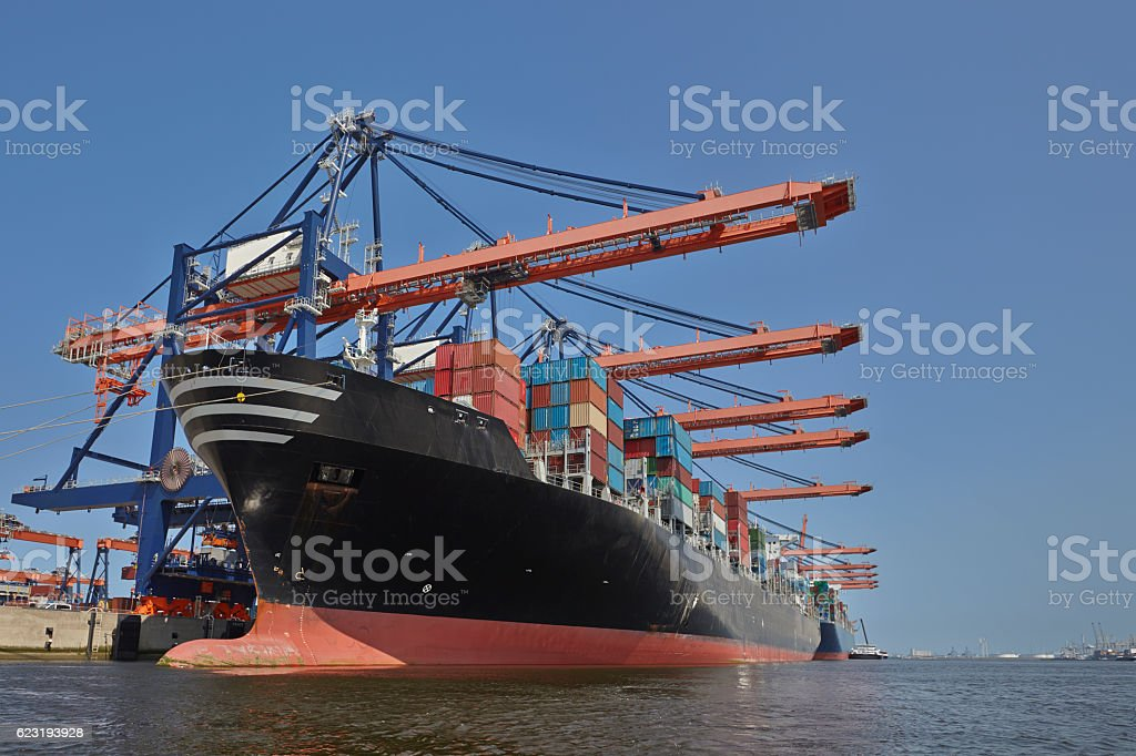 Freight ship under loading in a Port stock photo