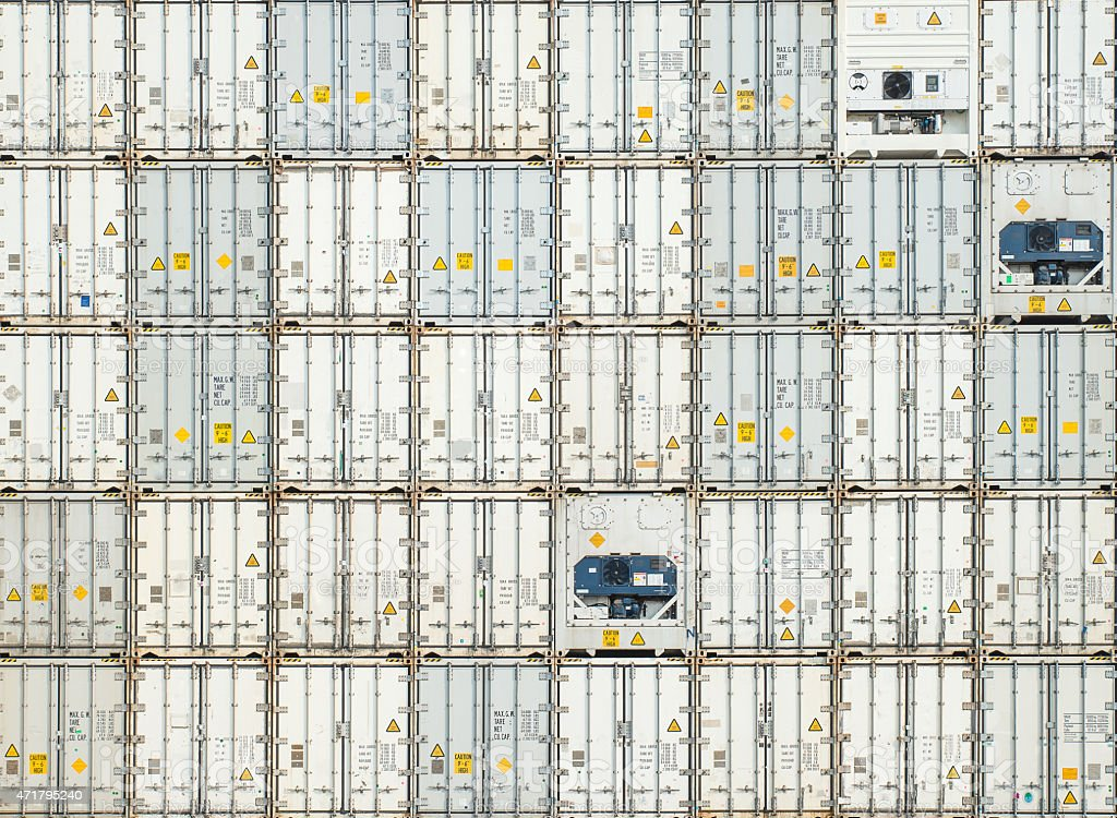 Freight shipping containers at the docks stock photo