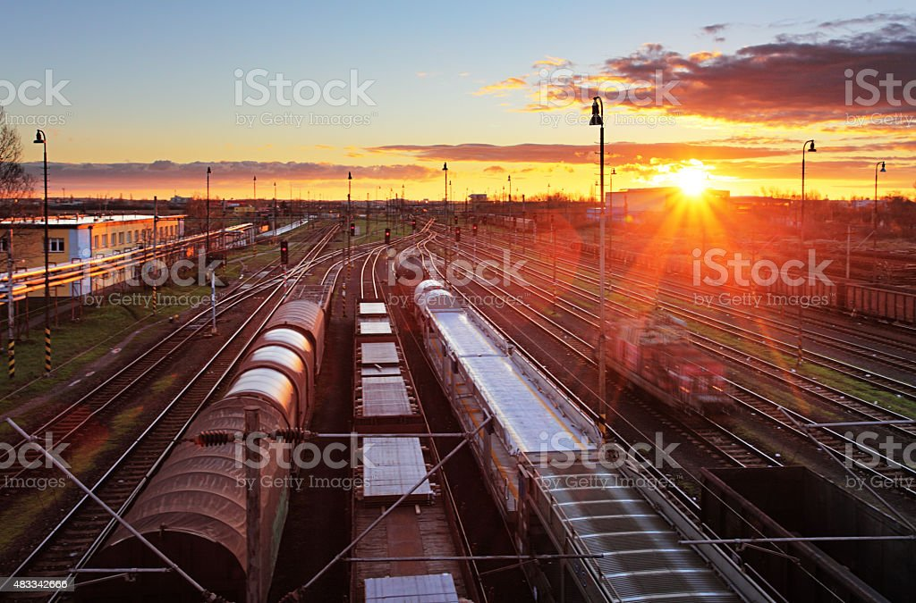 Freight Station with trains - Cargo transportation stock photo
