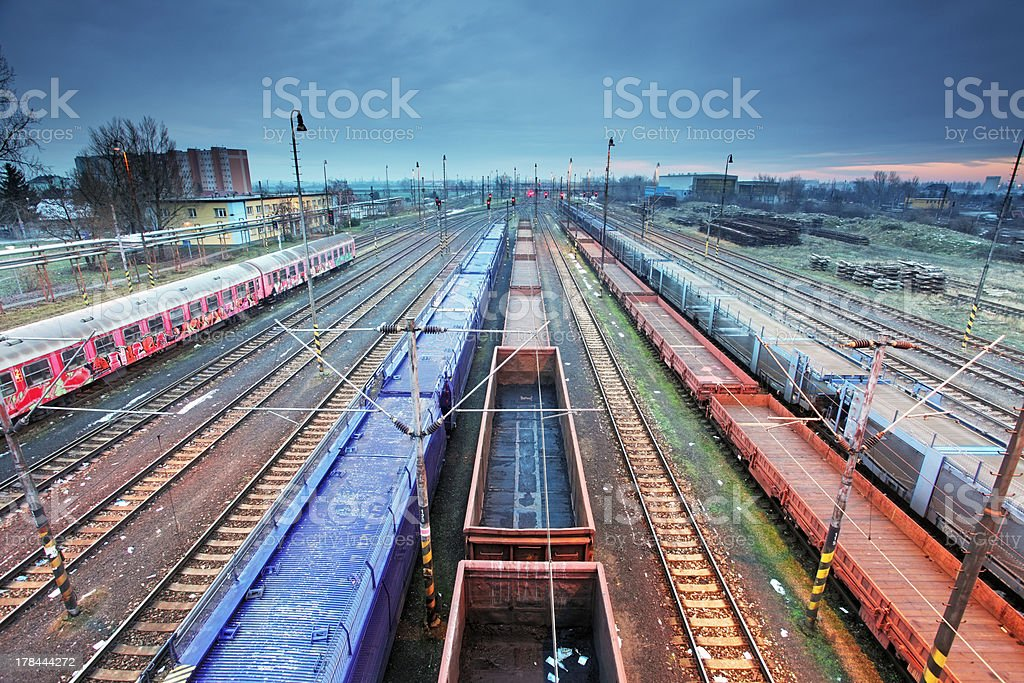 Freight Station with trains royalty-free stock photo