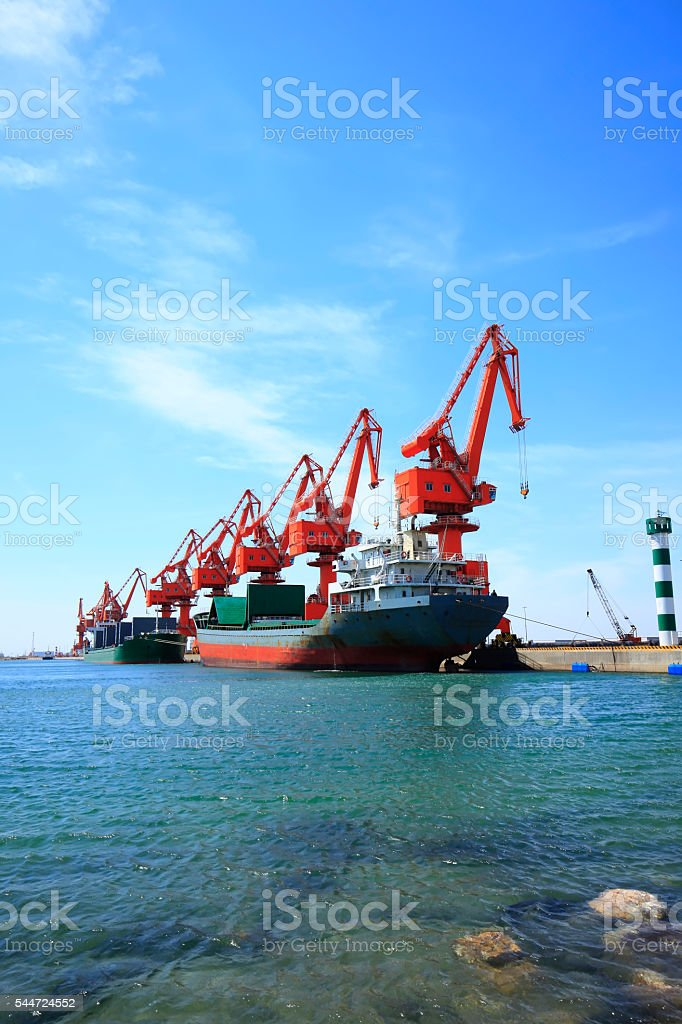 Freight terminal under the blue sky stock photo