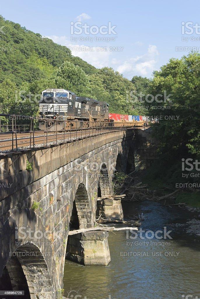 Freight Train Crossing Mountain Bridge stock photo