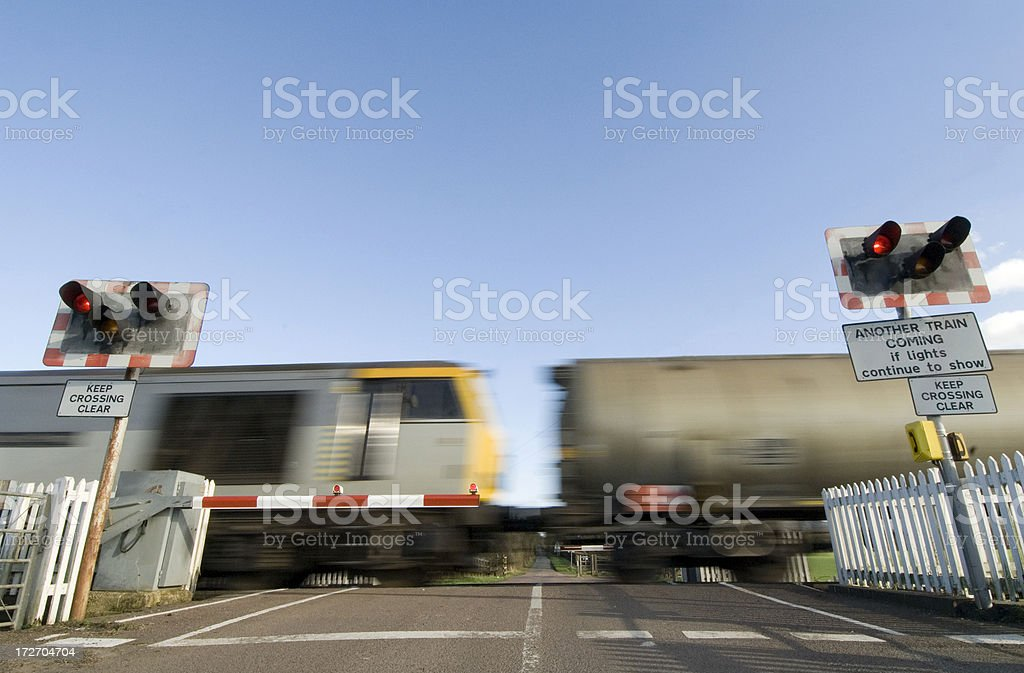 Freight Train & Crossing stock photo