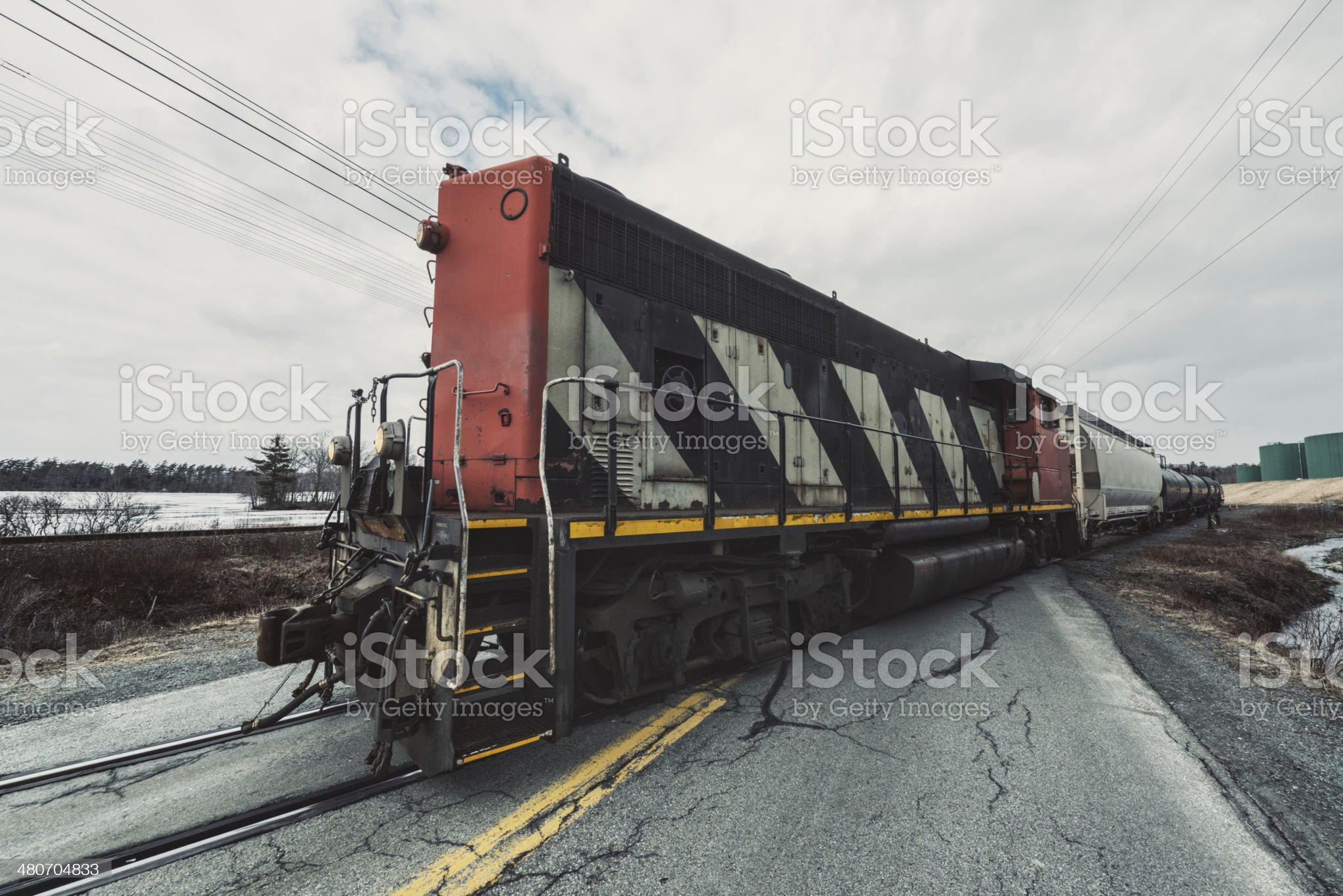 Freight Train Crossing royalty-free stock photo