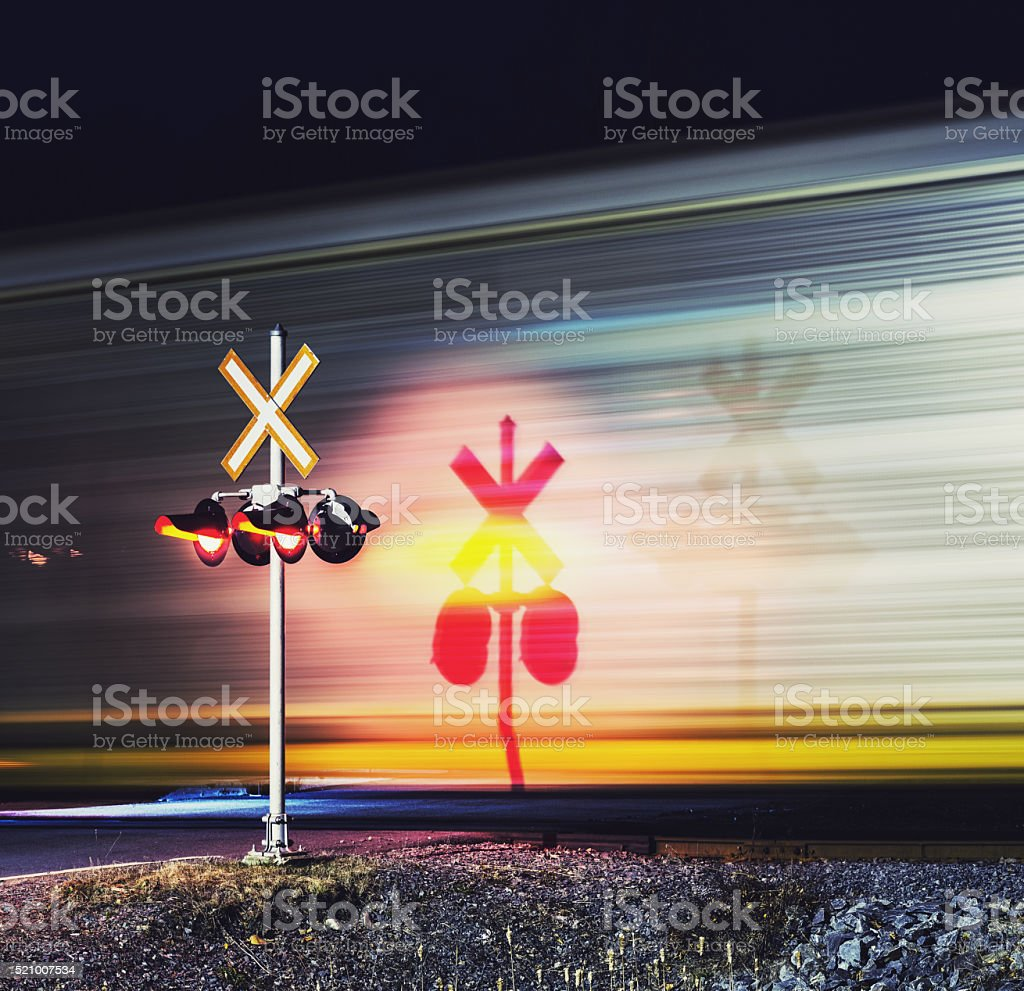 Freight Train Crossing stock photo