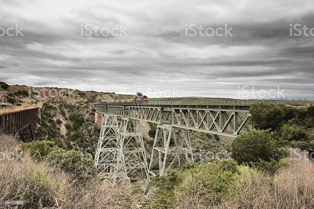 Freight train crossing trestle bridge  in South Africa royalty-free stock photo
