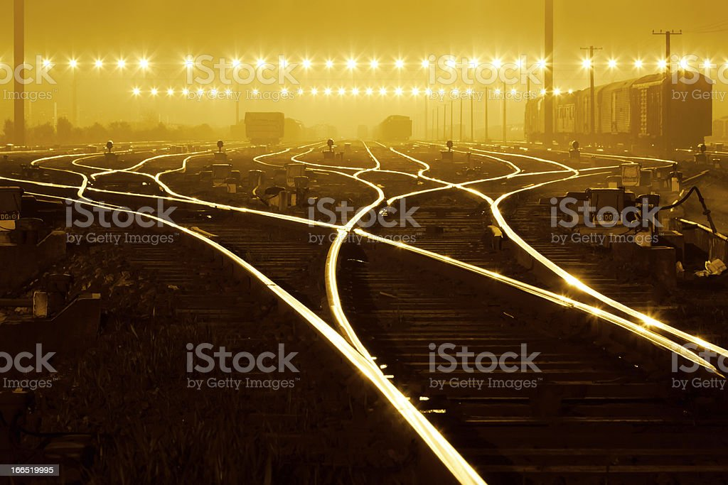 Freight train field under the curtain of night, stock photo