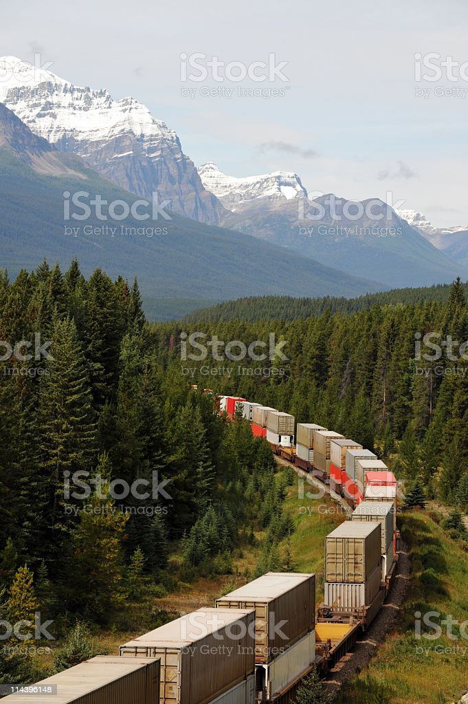 Freight train in Canadian  Rocky Mountains,Banff National Park,Canada stock photo