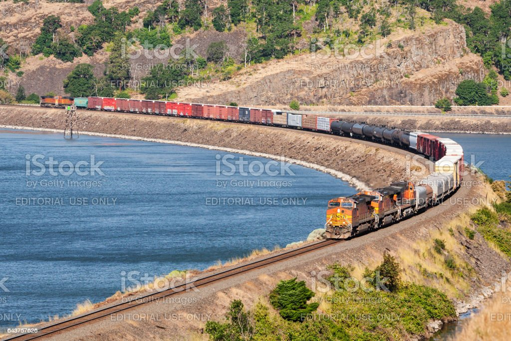 Freight train in Columbia Gorge stock photo