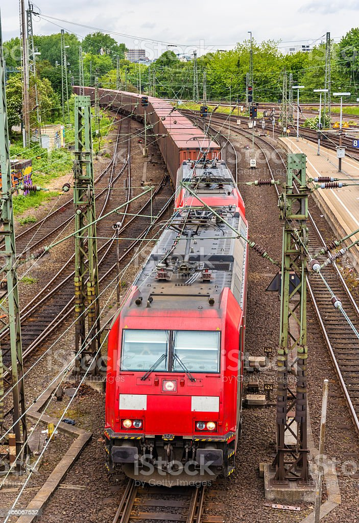 Freight train in Hamburg Hauptbahnhof station - Germany stock photo