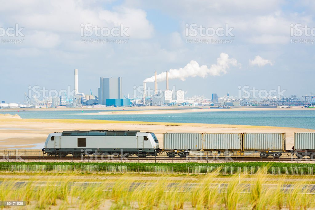 Freight train in industrial area near Rotterdam stock photo