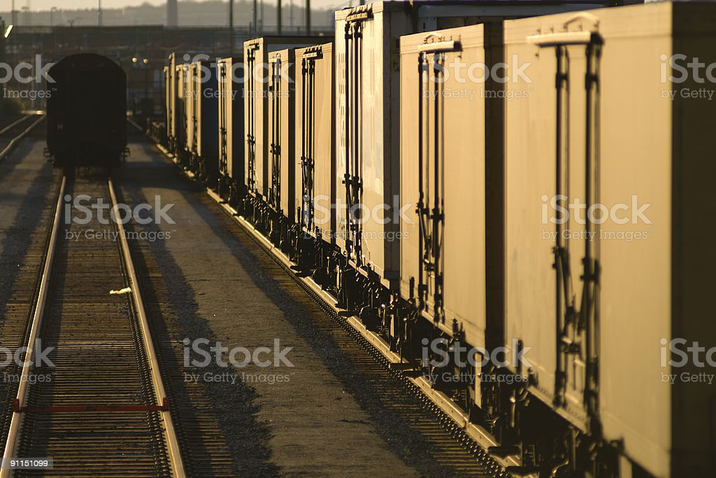 Freight train in morning stock photo