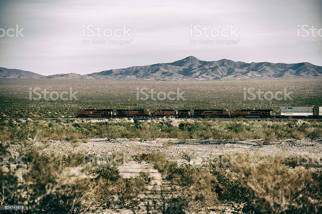Freight train in the deserst stock photo
