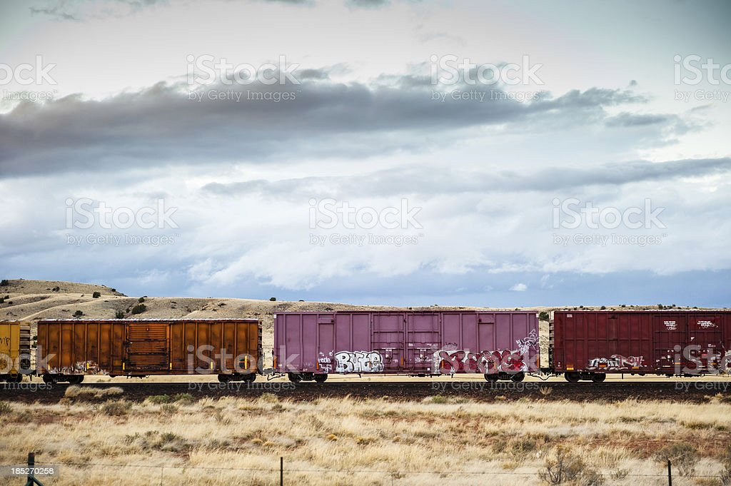 Freight Train in the Desert royalty-free stock photo