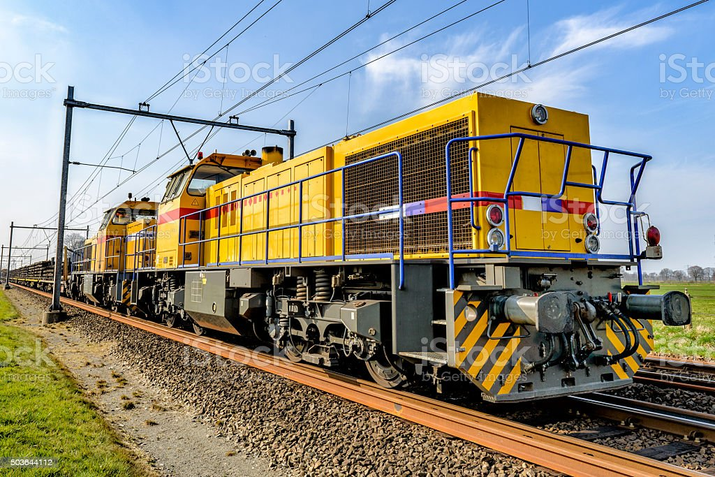 Freight train locomotive front view stock photo