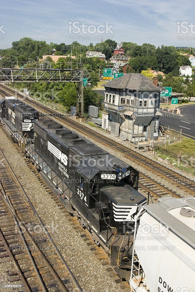 Freight Train Locomotives at Railroad Switching Tower, Norfolk Southern SD-40 stock photo