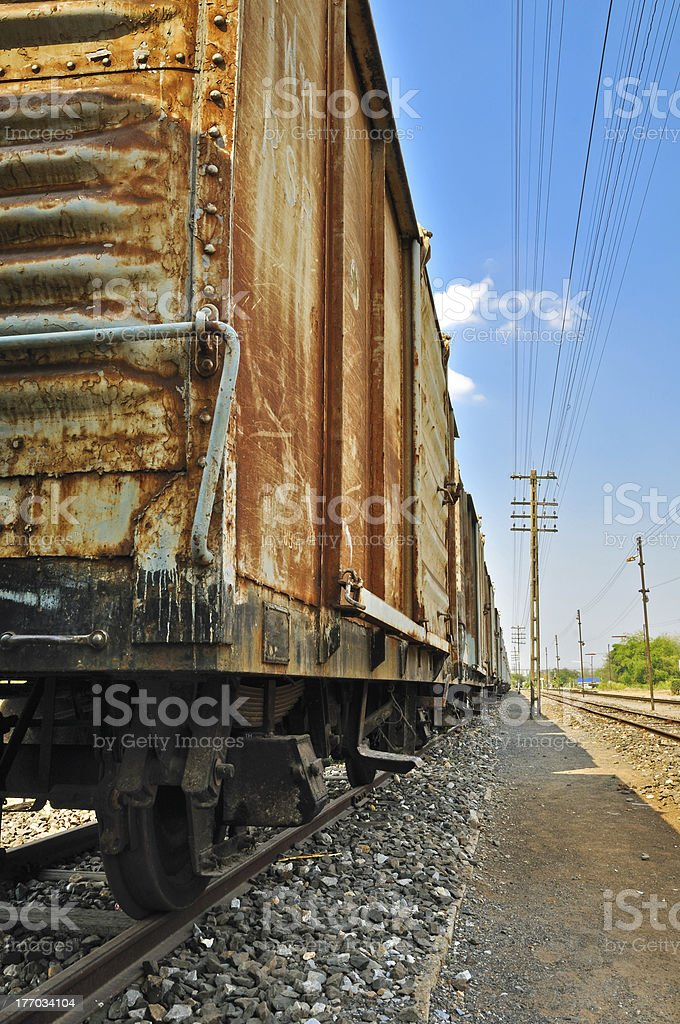 Freight train wagons. stock photo
