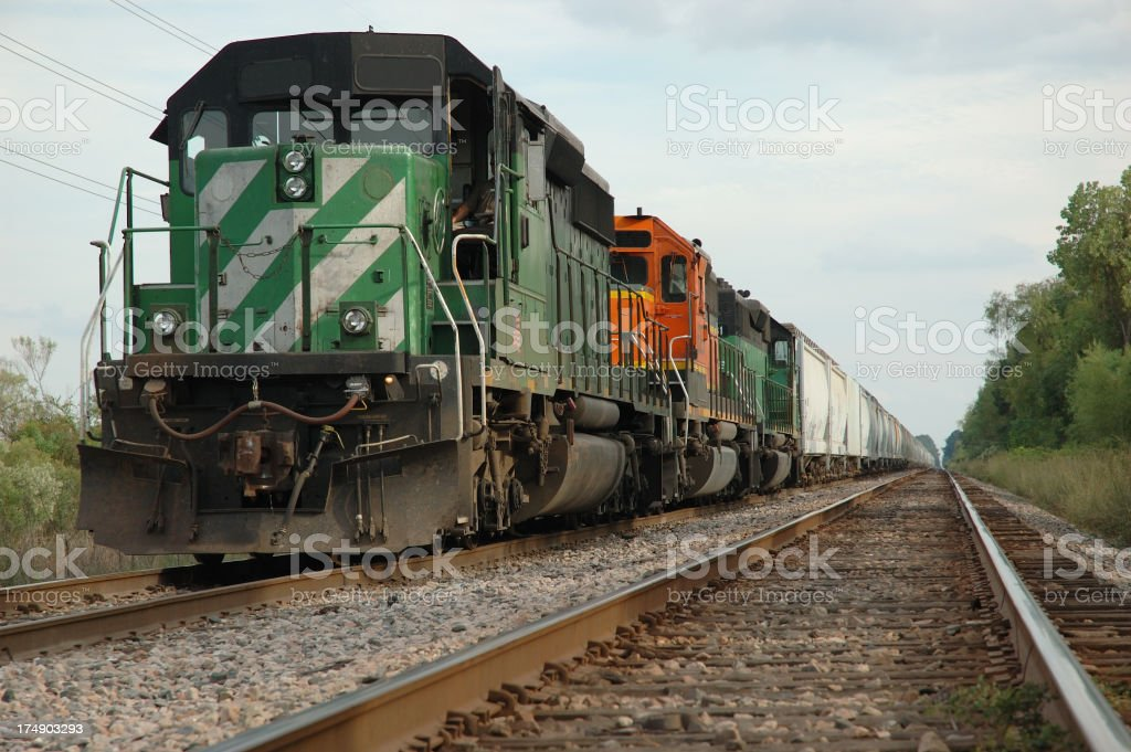 Freight Train Waiting To Move Down The Tracks stock photo