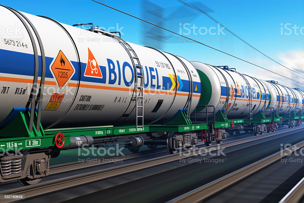 Freight train with biofuel tankcars stock photo