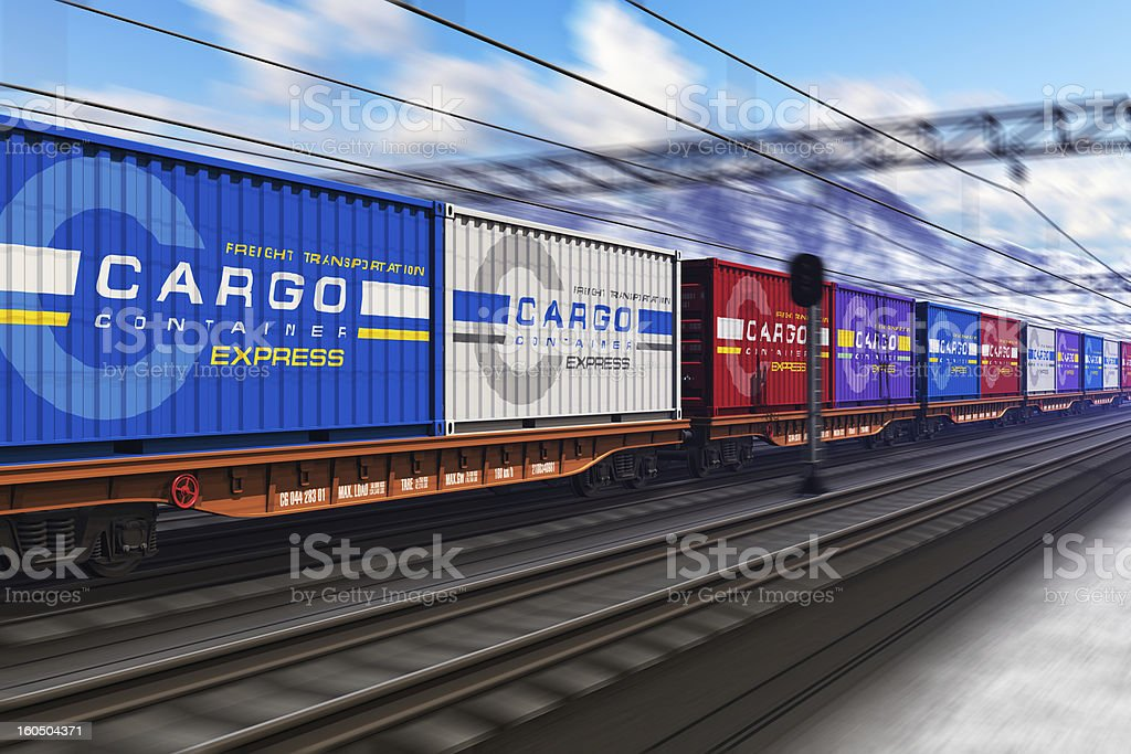 Freight train with cargo containers in winter stock photo