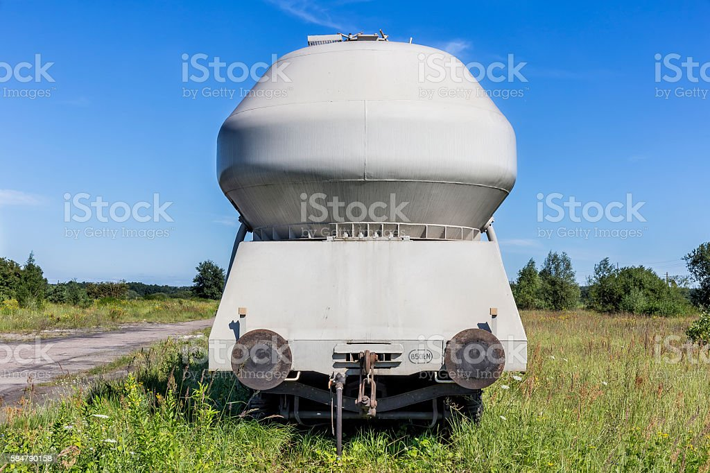 Freight train with cement tank wagons stock photo