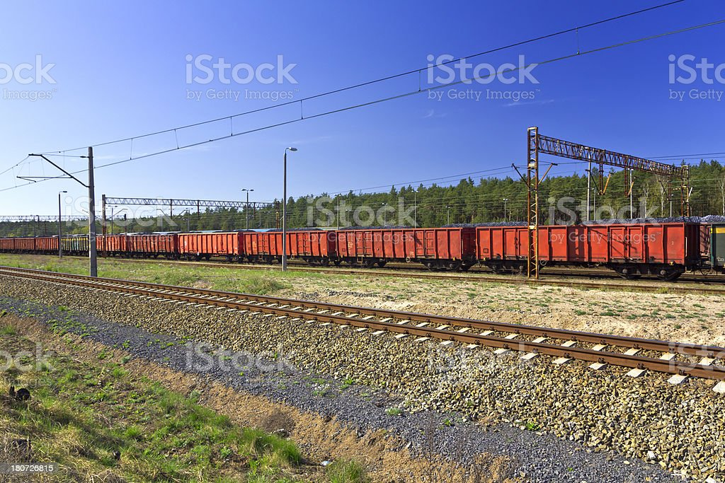 Freight train with coal royalty-free stock photo