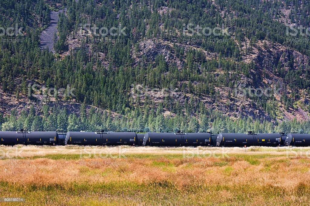 Freight Train with Crude Oil Tankers stock photo
