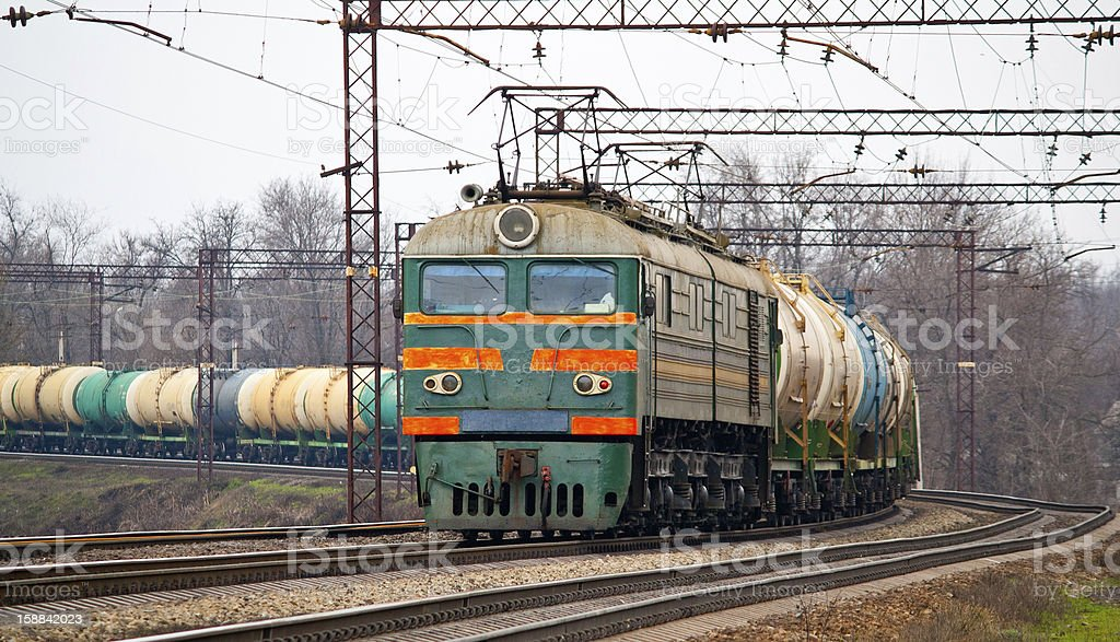 Freight train with petroleum royalty-free stock photo