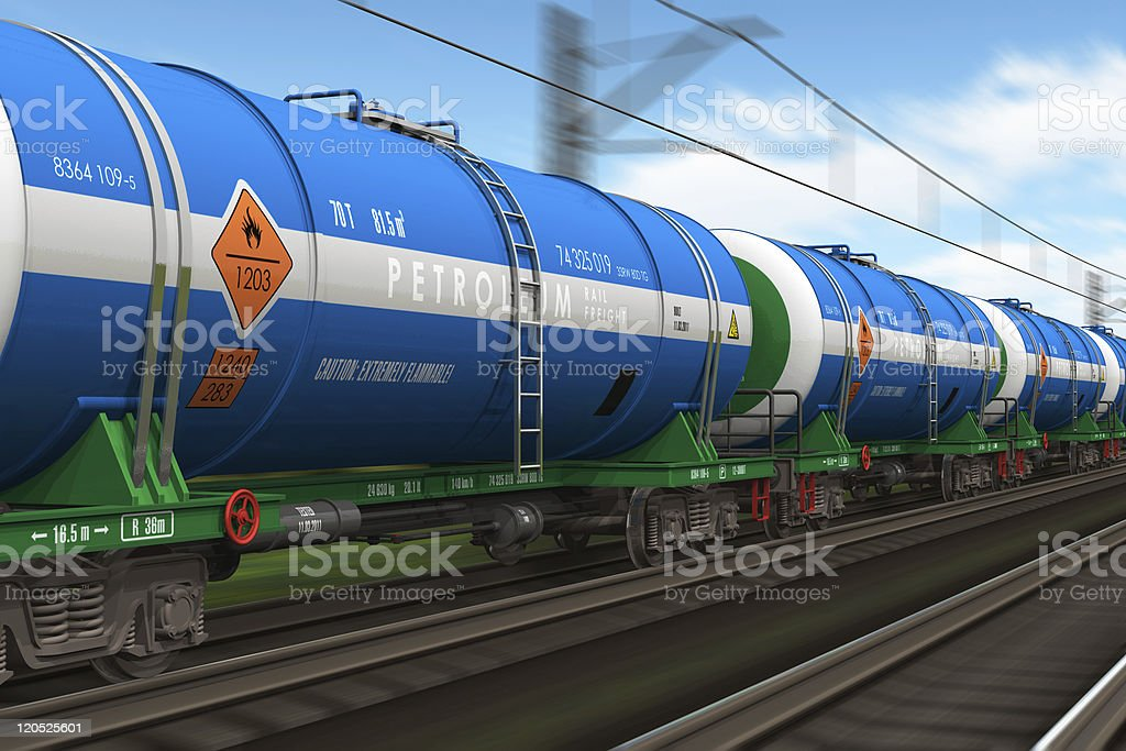 Freight train with petroleum tanker cars royalty-free stock photo