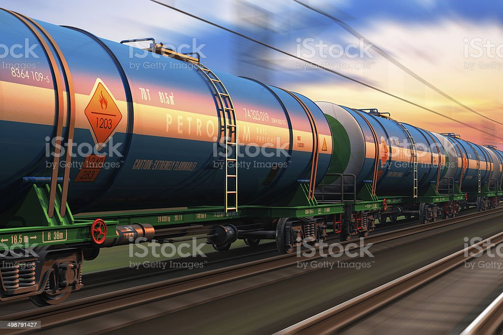 Freight train wtih petroleum tankcars stock photo
