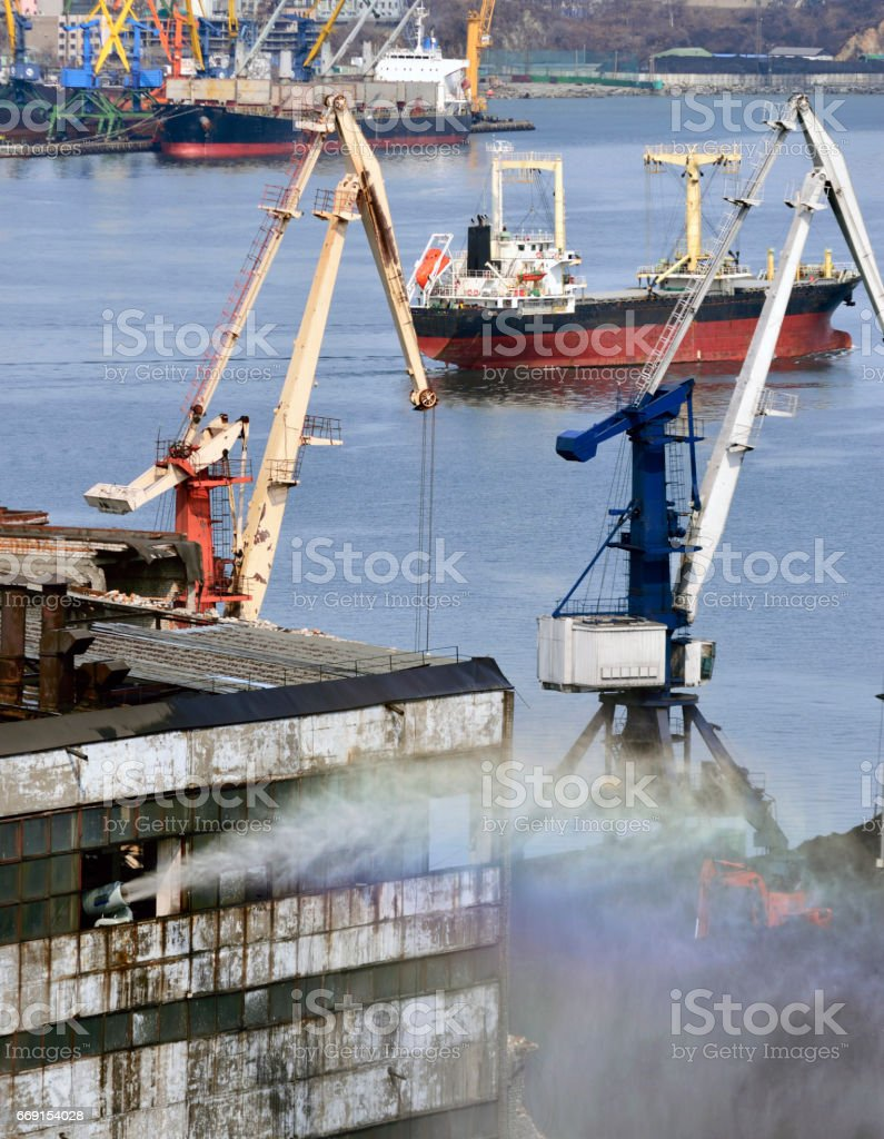 freight traine and coal in port stock photo