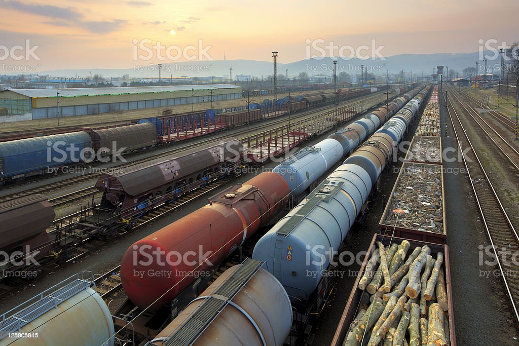 Freight Trains and Railways at sunset stock photo