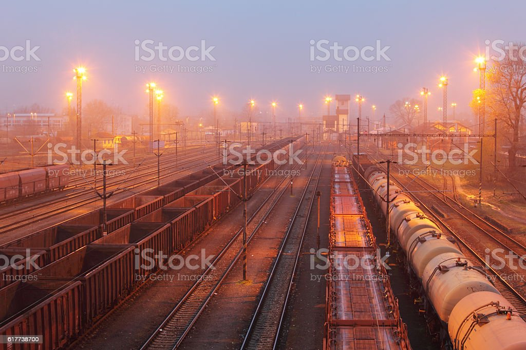 Freight trains - Cargo transportation, Railway stock photo