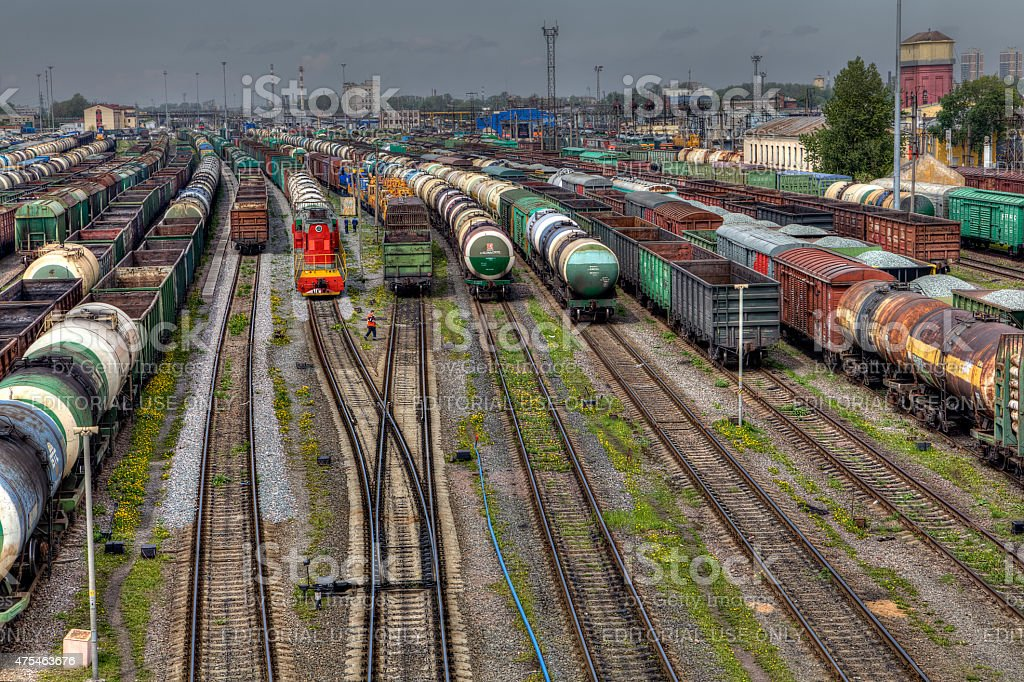 Freight trains ready to depart for shunting yard, Russia. stock photo