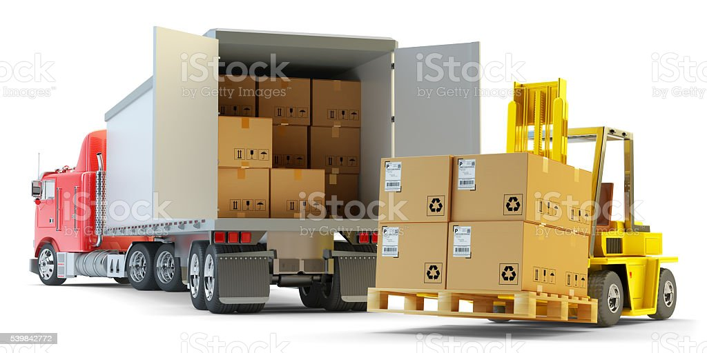 Freight transportation, packages shipment and warehouse logistics concept stock photo