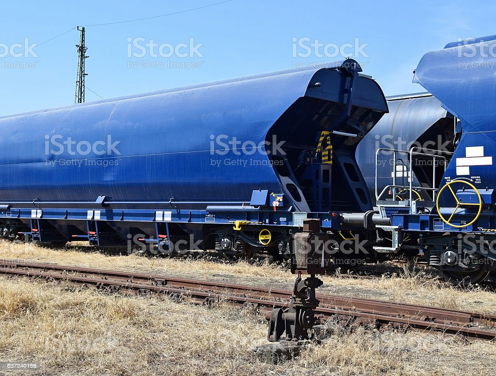Freight transportation railway carriages stock photo