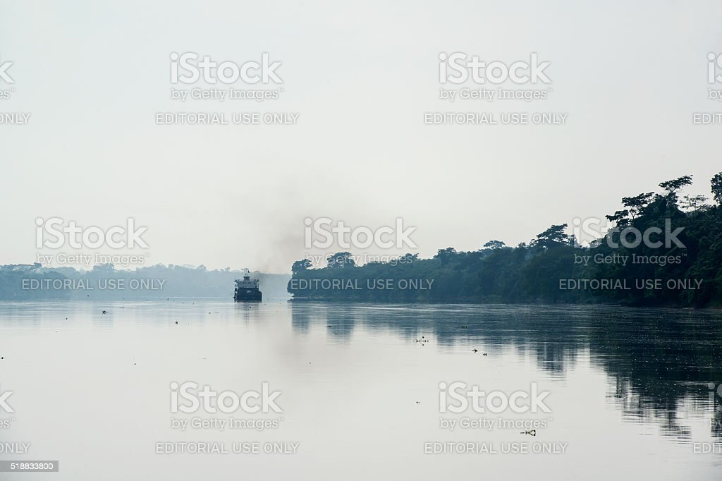 Freight vessel on the Congo River stock photo