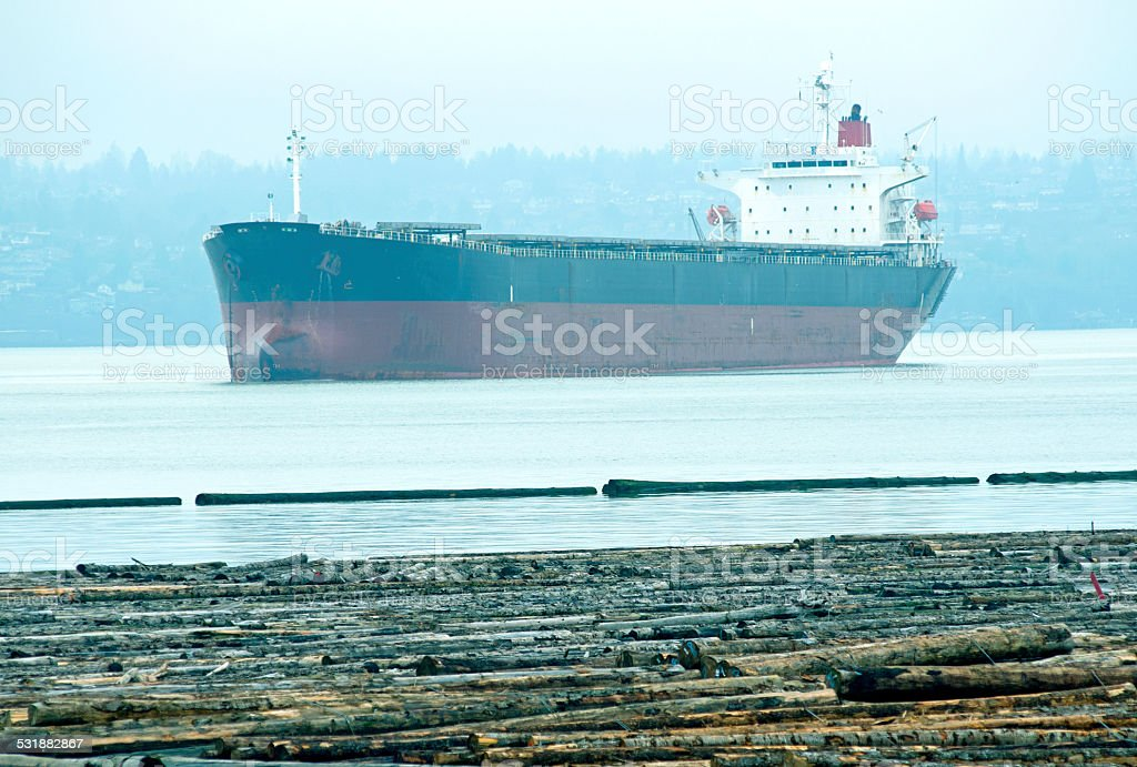Freighter anchored in bay beyond log raft stock photo