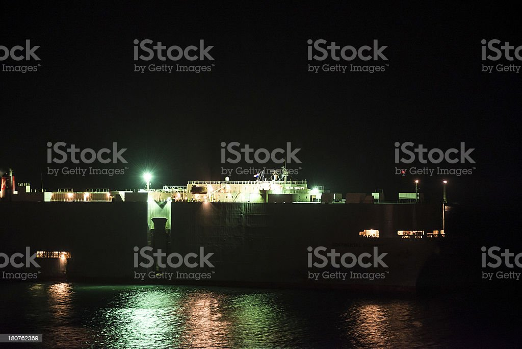 Freighter at Night on the Panama Canal royalty-free stock photo