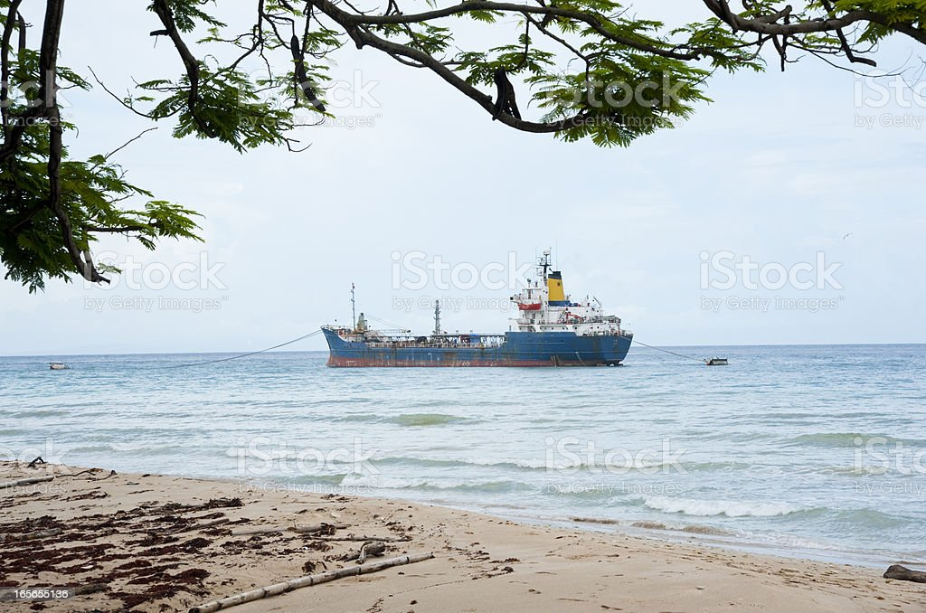 Freighter at Sea royalty-free stock photo