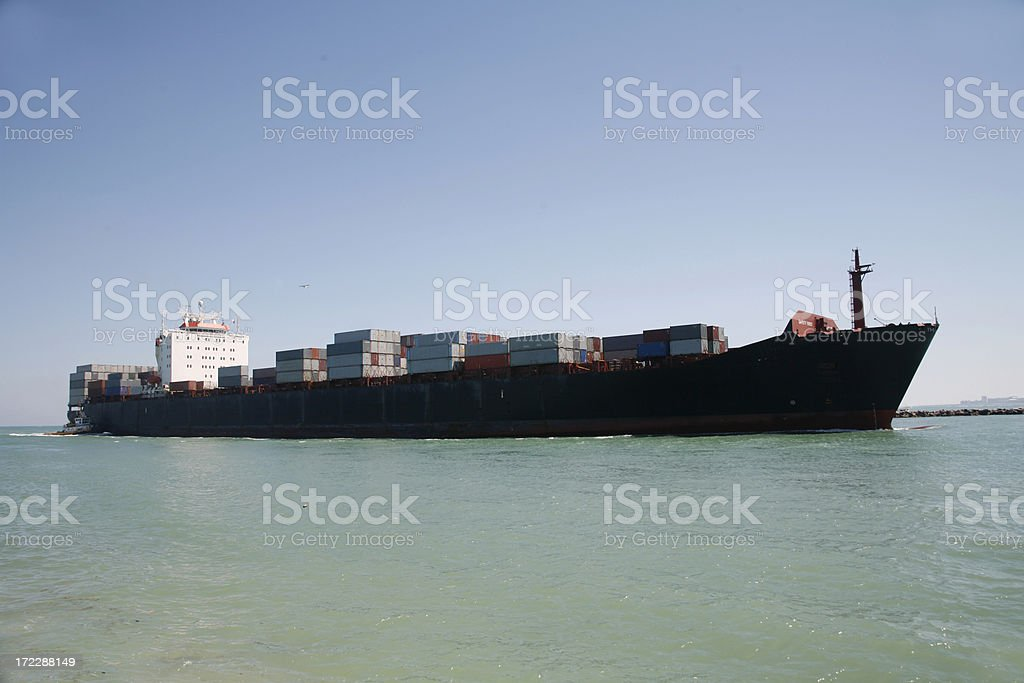 Freighter container ship stock photo