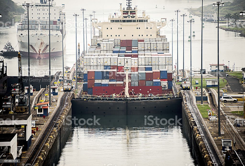 Freighter in Gatun Lock, Panama Canal royalty-free stock photo