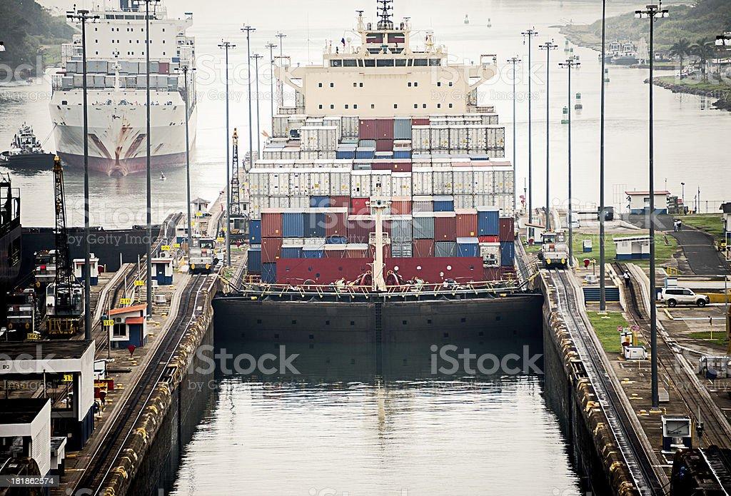 Freighter in Gatun Lock, Panama Canal stock photo