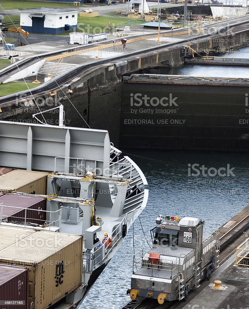 Freighter in the Panama Canal Gatun Locks royalty-free stock photo